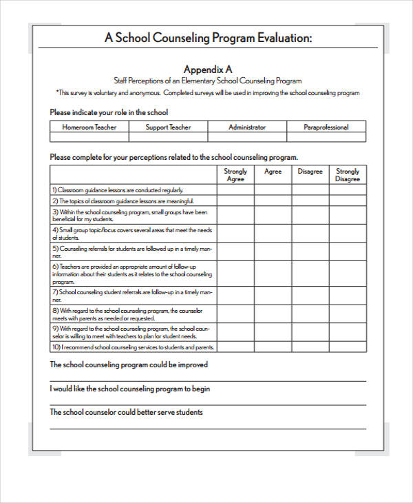 Group Counseling Evaluation Form