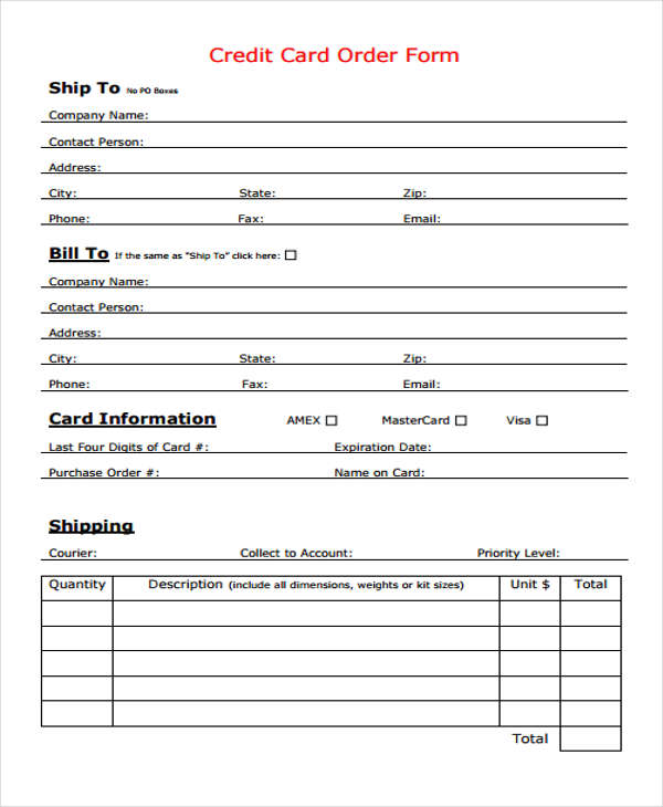 8+ Sample Card Order Form - Free Documents in Word, PDF