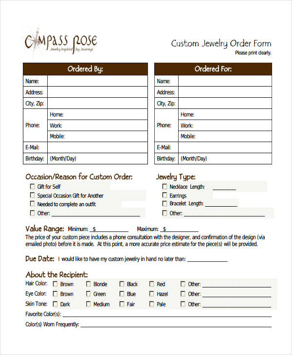 9+ Custom Order Forms - Free Sample, Example, Format Download