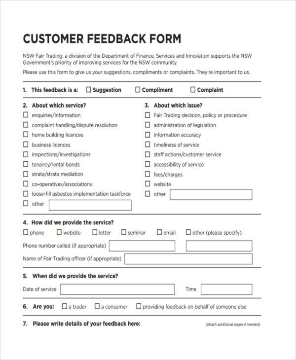19 Customer Feedback Forms in PDF