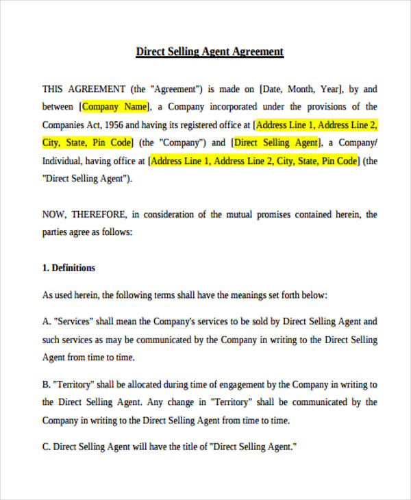 Sales Agent Agreement Sample Gallery - Agreement Letter Format