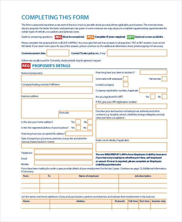 42+ Insurance Proposal Form Example - policy proposal template