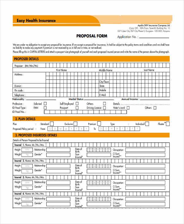 38+ Insurance Proposal Form in PDF
