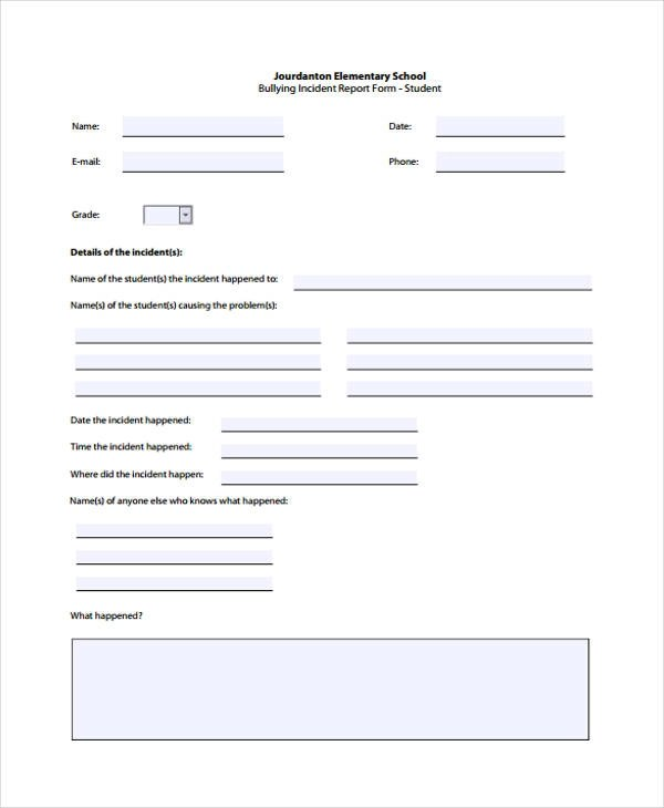 Sample Incident Report Form - incident report forms