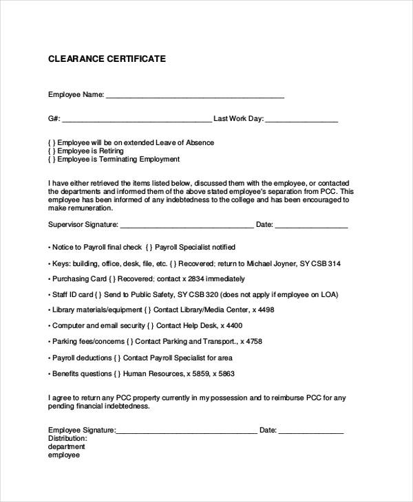16+ Employee Clearance Form Sample - employment separation certificate form