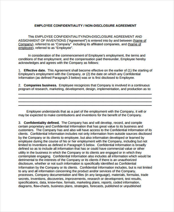 21+ Confidentiality Agreement Form Template - Free Documents in PDF - confidential form template