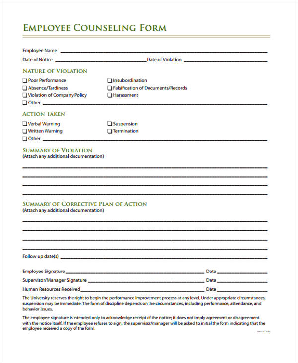 48 Counseling Form Examples