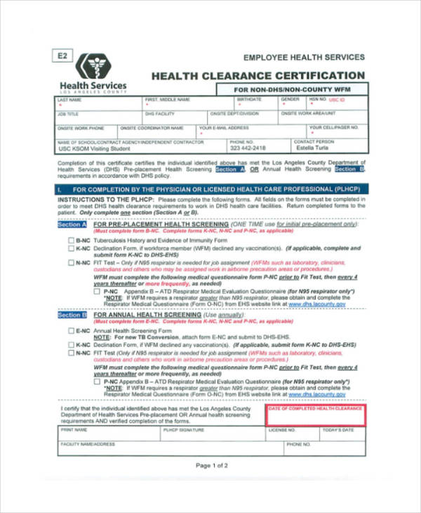 Medical Clearance Form Medical Clearance Forms In Pdf Free Format