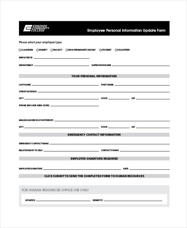 7+ Employee Personal Information Form Sample - Free Samples - personal contact information form