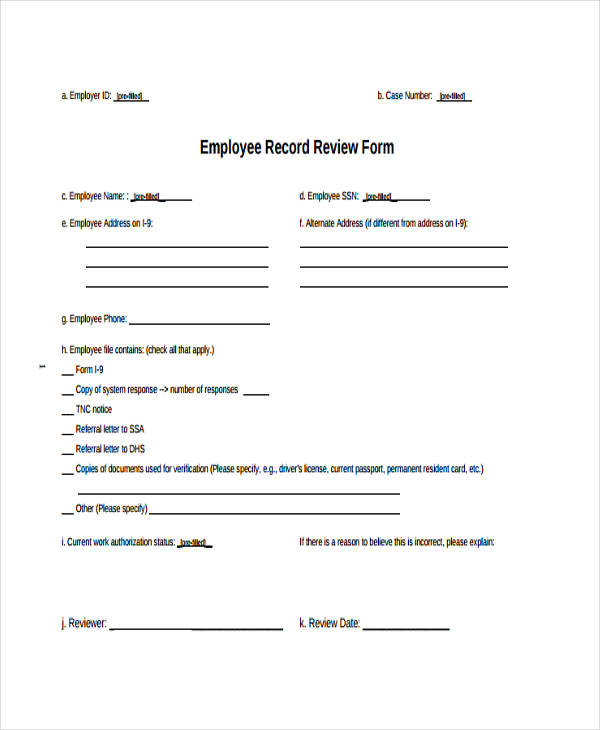 20+ Employee Review Form Example - employee record form