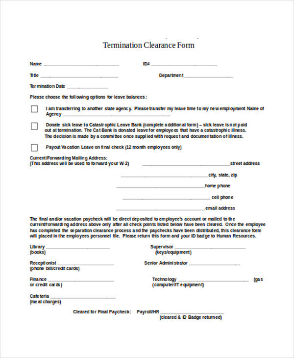11+ Employee Clearance Forms in Doc - employee termination form