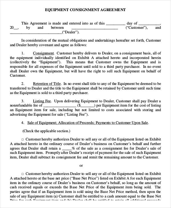 32+ Sales Agreement Form Template - consignment form template