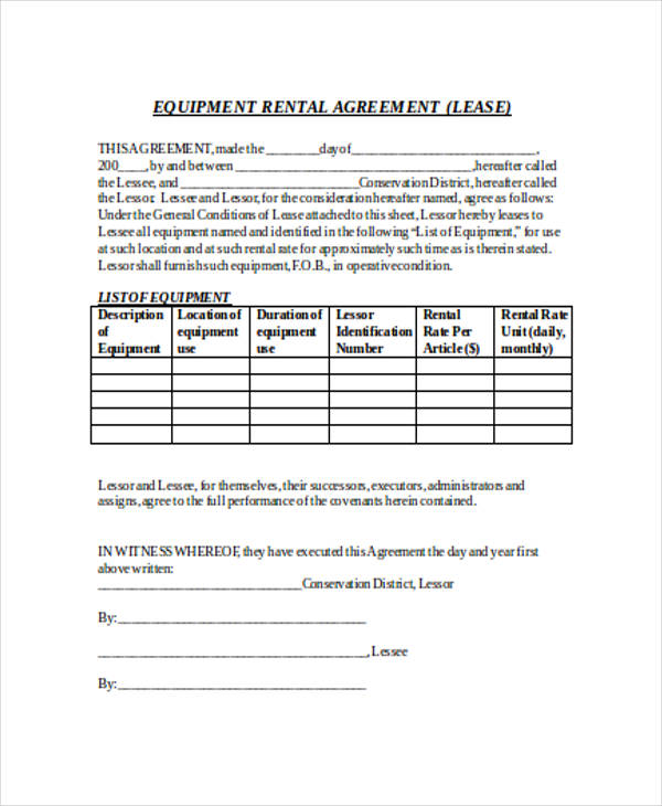 Rental Agreement Form in Word - equipment lease agreement template