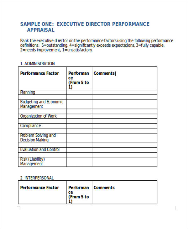 7+ Executive Performance Appraisal Form Sample - Free Sample - sample performance appraisal form