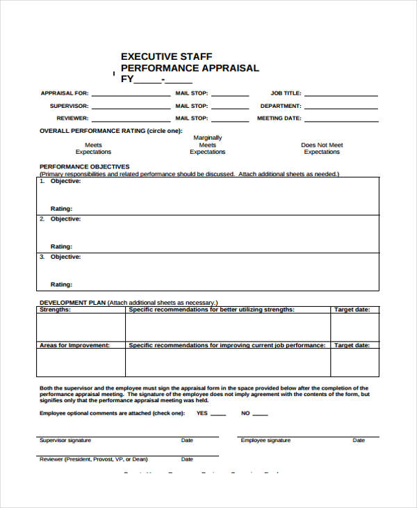 Employee Appraisal Samples  Employee Appraisal Form Sample