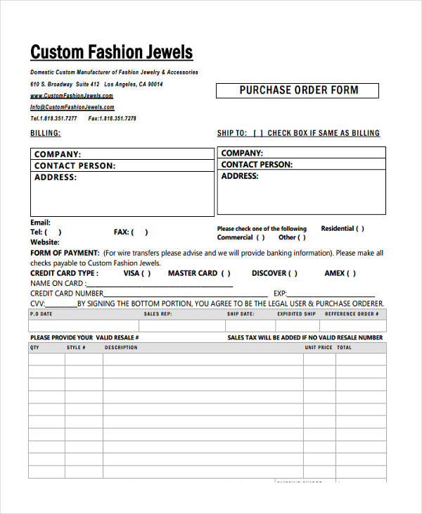 5+ Fashion Order Forms - Free Sample, Example, Format Download - purchase order form free