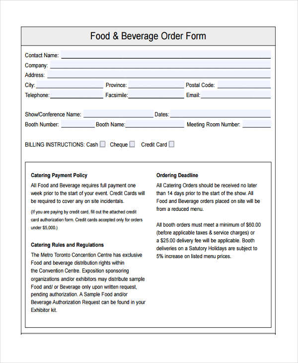 7+ Food Order Form Samples - Free Samples, Examples, Format Download