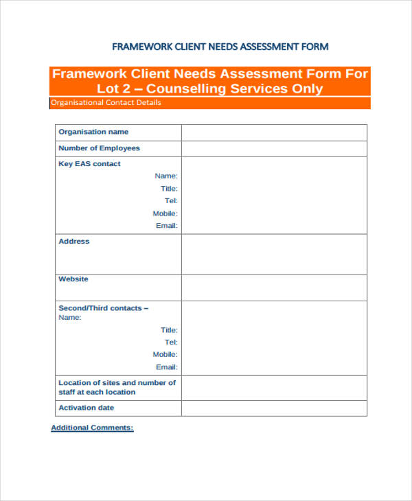 Needs Assessment Form Template - assessment forms templates