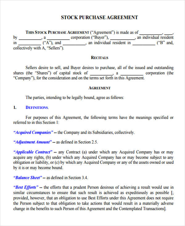 Business Purchase Agreement Sample Letter Of Intent Form Template - sample stock purchase agreement example