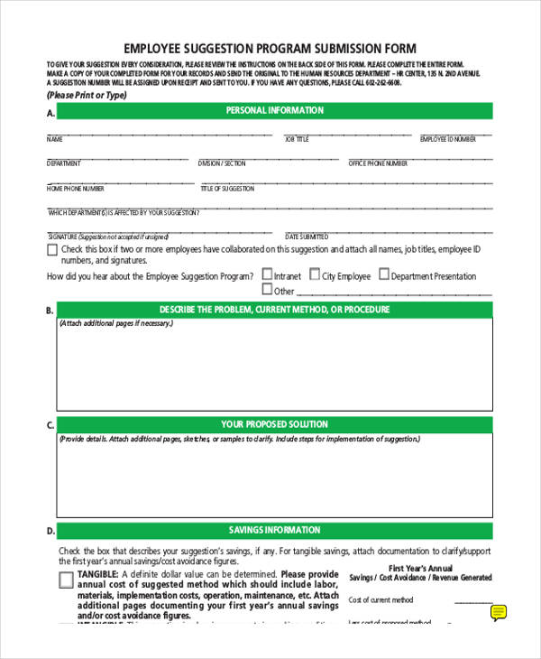 8+ Employee Suggestion Form Sample - Free Sample, Example Format