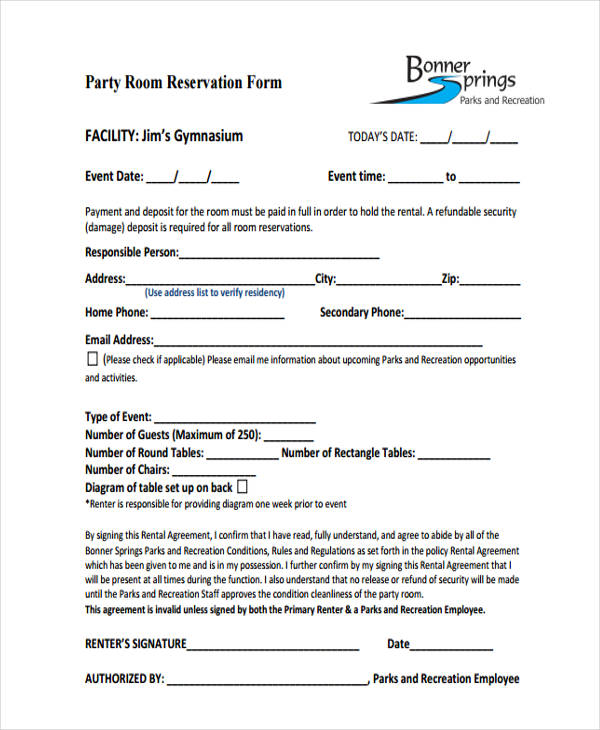 10+ Sample Party Reservation Forms - Free Sample, Example Format