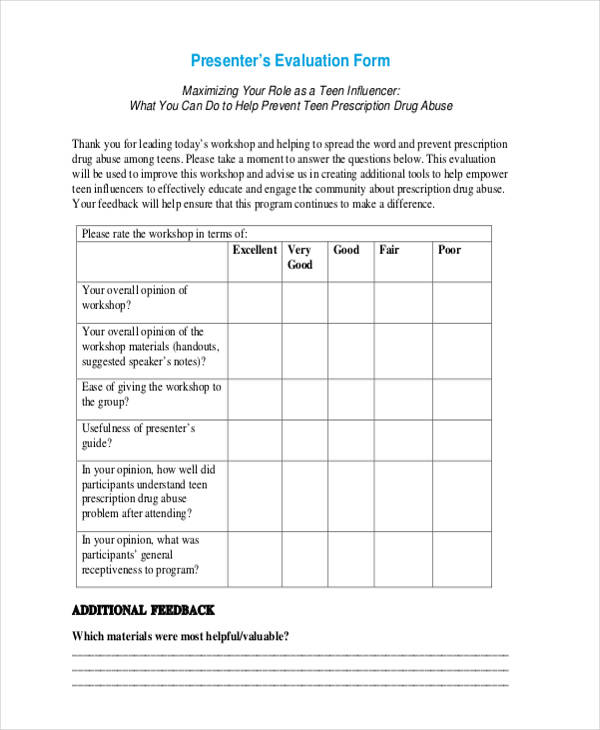 ... 14 Sample Workshop Evaluation Forms   How To Create Evaluation Form ...