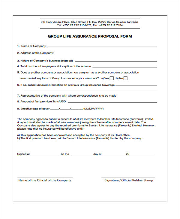 47+ Insurance Proposal Form Sample