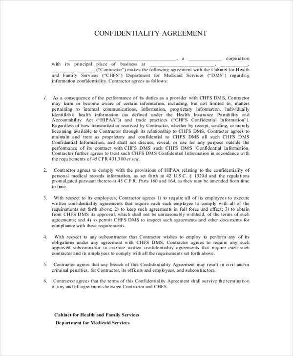 19+ Confidentiality Agreement Form - Free Documents in Word, PDF - contractor confidentiality agreement