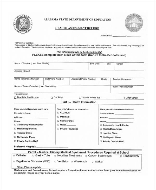 Health Assessment Forms in PDF - sample health assessment