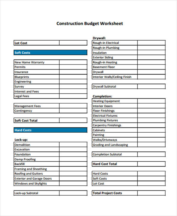 9+ Home Budget Form Sample - Free Sample, Example, Format Download - sample construction budget