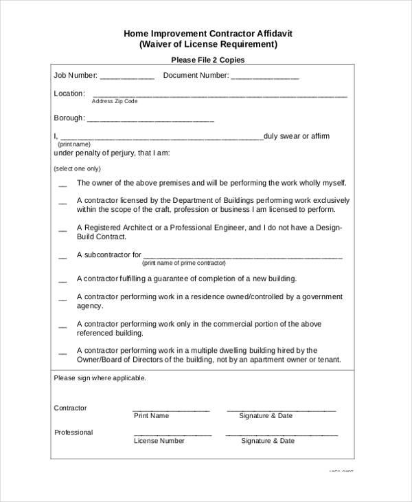 9+ Contractor Affidavit Form Sample - Free Sample, Example Format - Affidavit Formats
