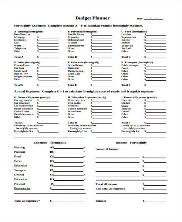 9+ Home Budget Form Sample - Free Sample, Example, Format Download - free budget form