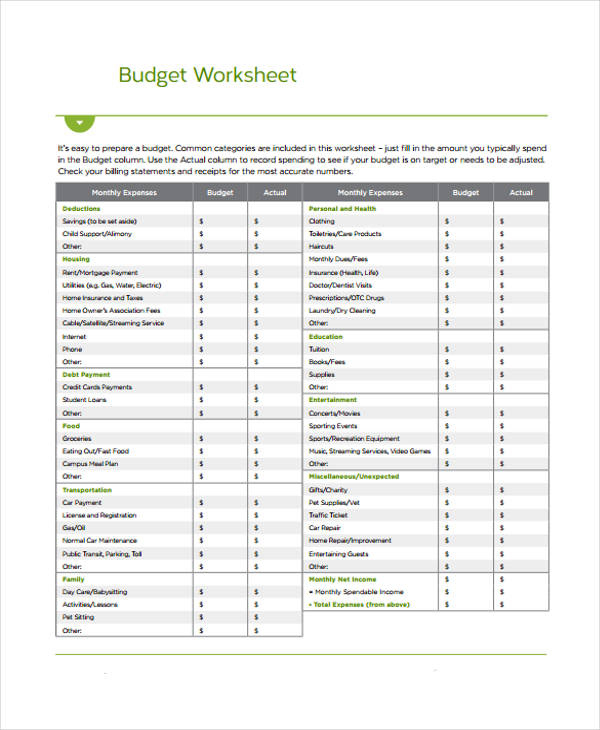 9+ Home Budget Form Sample - Free Sample, Example, Format Download