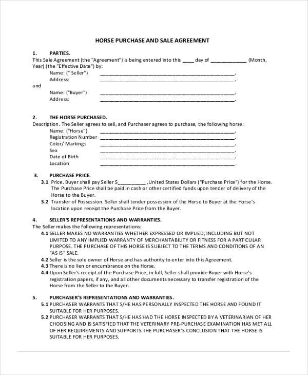 31+ Free Sales Agreement Forms - purchase and sales agreement