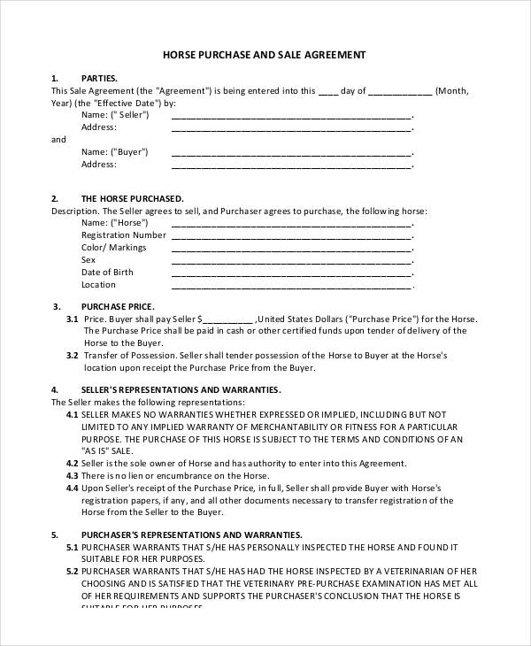32+ Sales Agreement Form Template - purchase and sales agreement