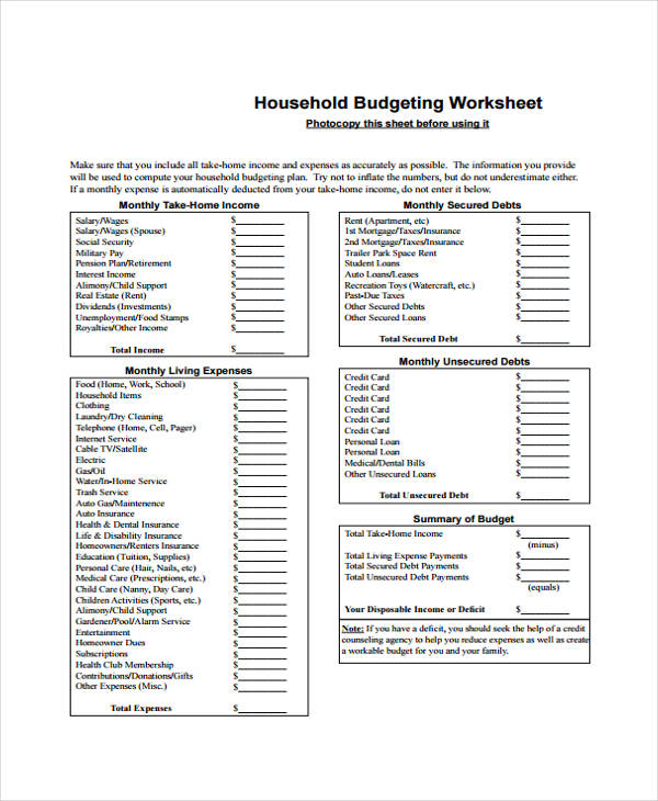 Home Budget Form Sample - 6+ Free Documents in Word, PDF