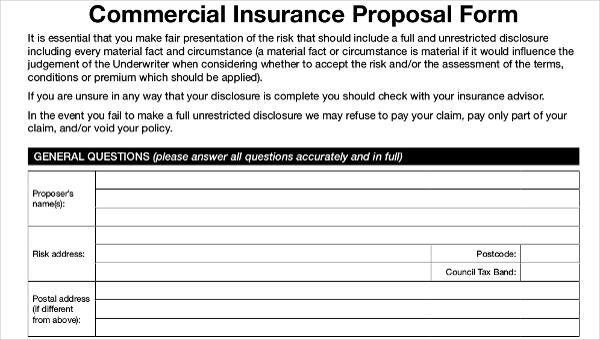 47+ Insurance Proposal Form Sample