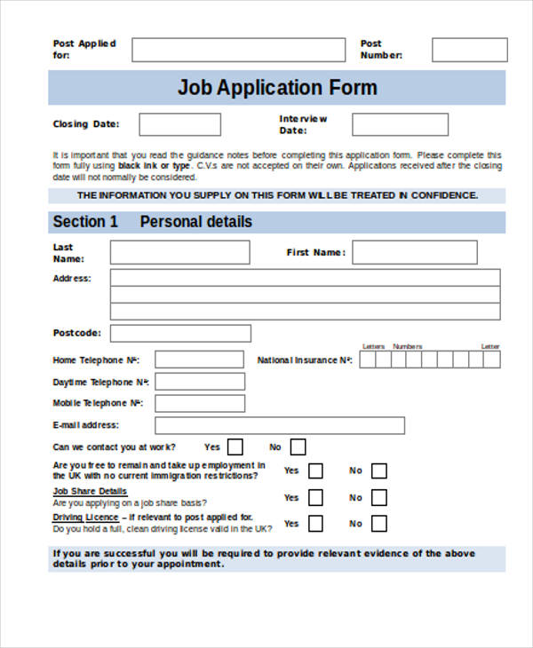 Job Application Form Download Doc | Resume Format For Fresh Mba