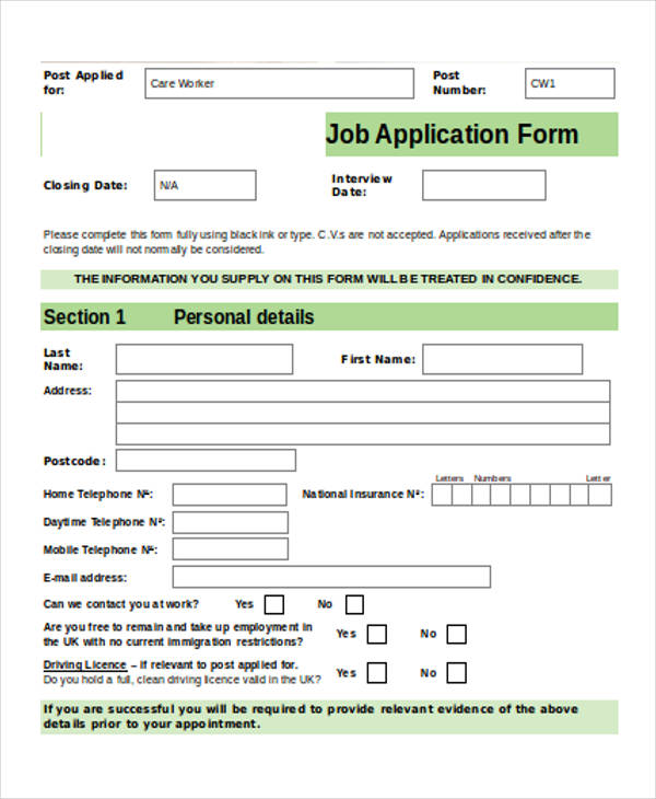 9+ Job Application Form Sample - Free Sample, Example Format Download - application form in doc