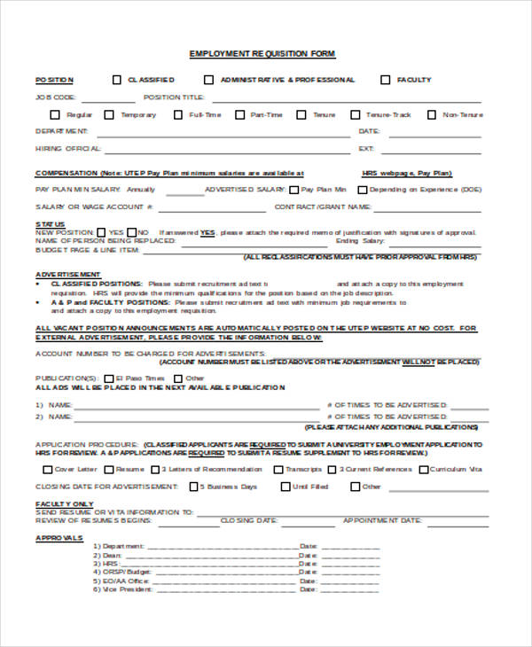 Employment Requisition Form Sample  MieszCo