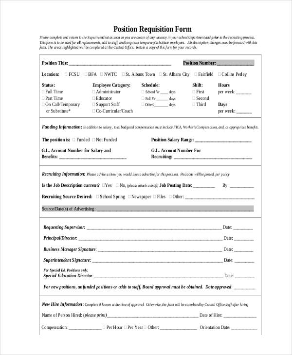 Job Requisition Form Sample - 10+ Free Documents in Word, PDF - employee requisition form