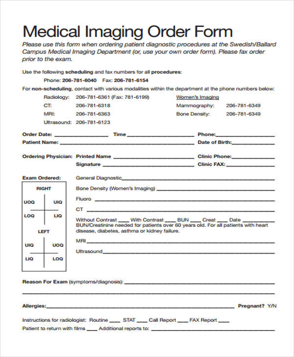 9+ Sample Medical Order Form - Free Documents in Word, PDF