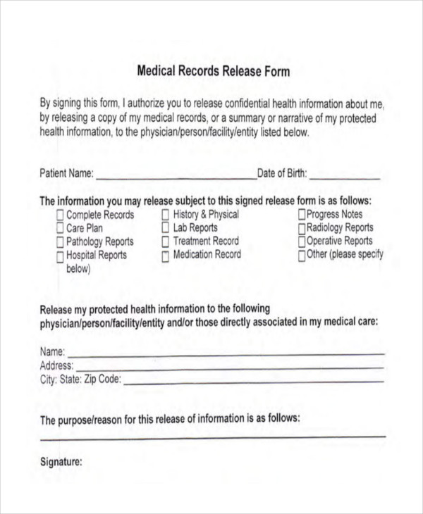 26+ Print Release Forms - sample medical records release form