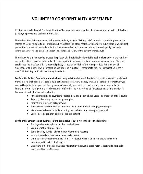 19+ Free Confidentiality Agreement Forms - Free Documents in Word, PDF - volunteer confidentiality agreement