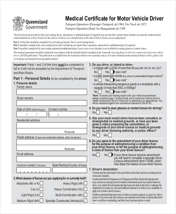 33 Medical Application Forms In PDF   Medical Certificate Form