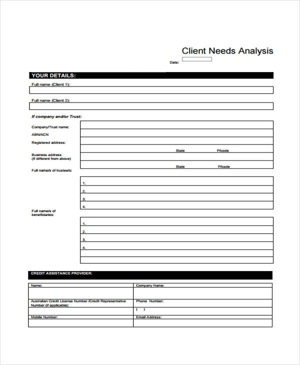 ... 32 Free Needs Assessment Forms   Sample Needs Analysis ...  Business Needs Assessment Template