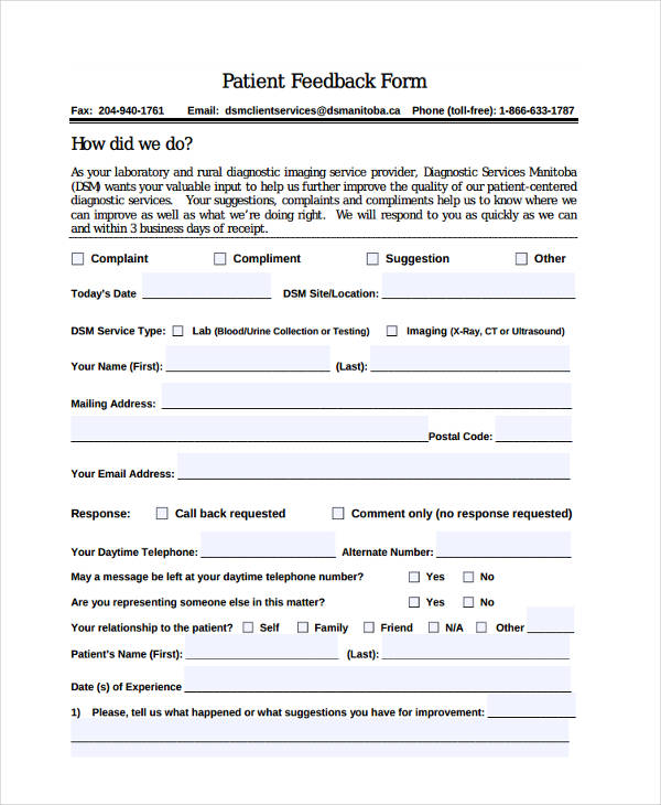 Patient Feedback Form - 7+ Free Documents in Word, PDF - feedback forms in word