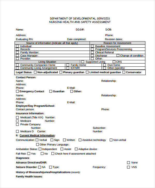 Nursing Assessment Form in PDF