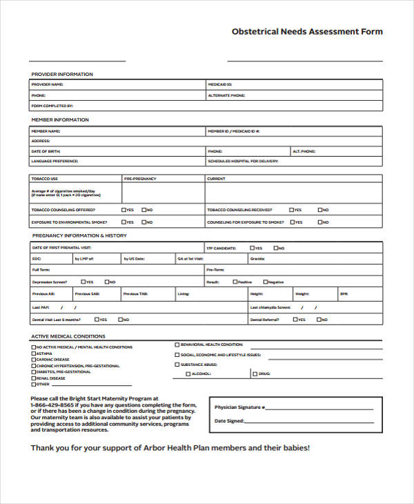 Needs Assessment Form Template - Assessment Form In Pdf