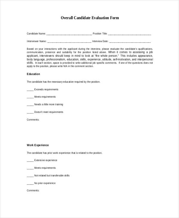 Candidate Assessment Form Sample  BesikEightyCo